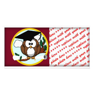 Cute Cartoon Graduation Owl With Cap & Diploma Picture Card