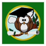 Cute Cartoon Graduation Owl With Cap & Diploma Print