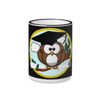 Cute Cartoon Graduation Owl With Cap & Diploma Ringer Mug