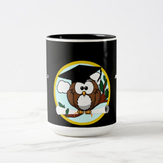 Cute Cartoon Graduation Owl With Cap & Diploma Two-Tone Mug