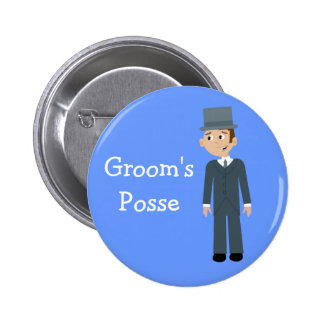 Cute Cartoon Groom's Posse Bachelor Party Button