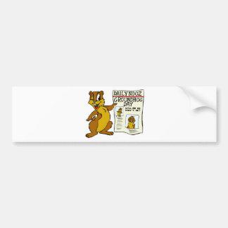 Cute Cartoon Groundhog w/ Groundhog Day Newpaper Bumper Sticker