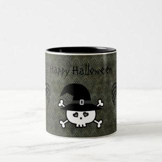 Cute Cartoon Halloween Skull & Spiders Grunge Two-Tone Mug