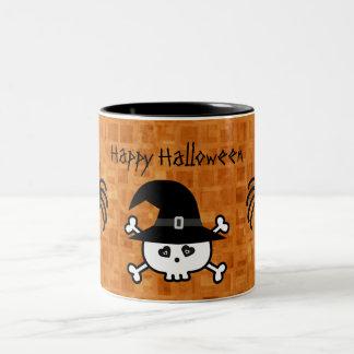 Cute Cartoon Halloween Skull & Spiders Two-Tone Coffee Mug