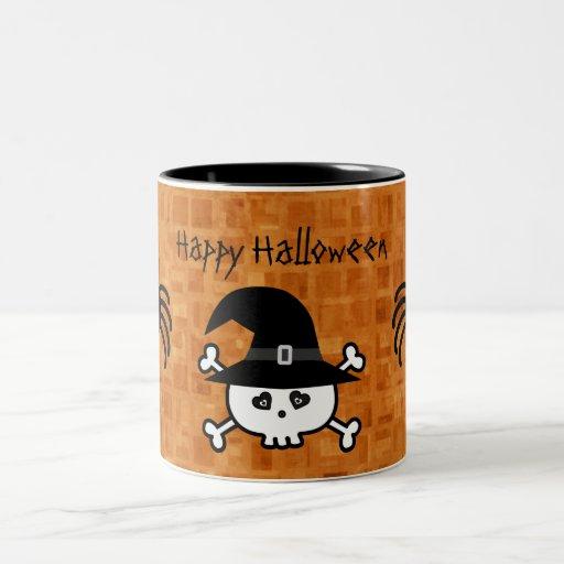 Cute Cartoon Halloween Skull & Spiders Mugs