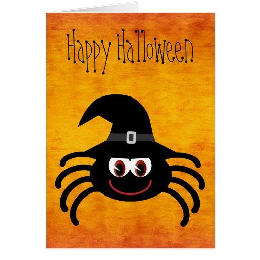 Cute Cartoon Halloween Spider Orange Greeting Card