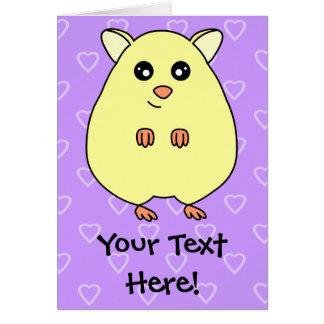 Cute Cartoon Hamster Customizable Greeting Card