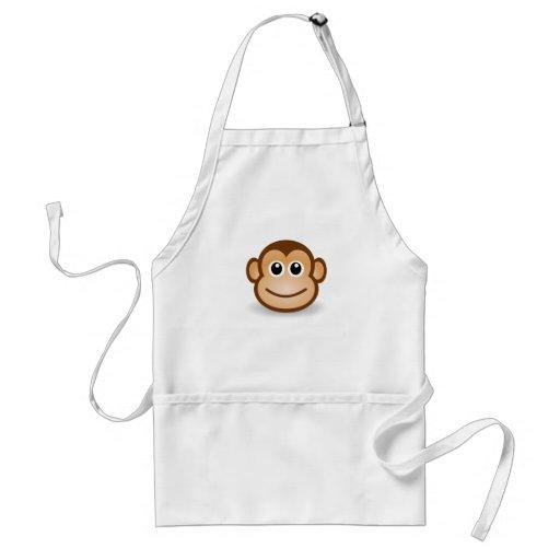 Cute Cartoon Happy Monkey Face Adult Apron