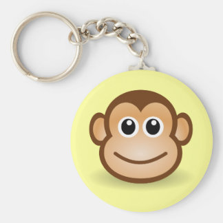 Cute Cartoon Happy Monkey Face Basic Round Button Key Ring
