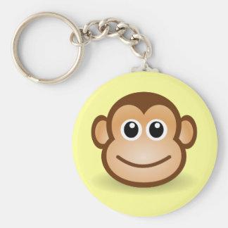 Cute Cartoon Happy Monkey Face Basic Round Button Key Ring