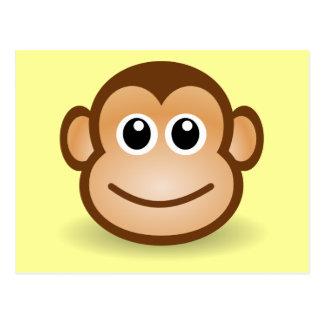 Cute Cartoon Happy Monkey Face Postcard