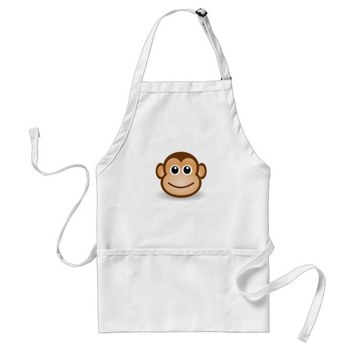 Cute Cartoon Happy Monkey Face Standard Apron