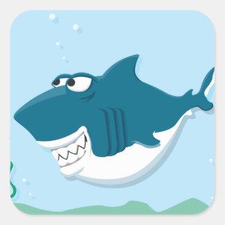 cute cartoon happy shark square sticker