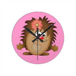 Cute Cartoon Hedgehog Round Clock