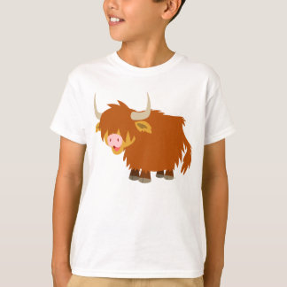 Cute Cartoon Highland Cow Children T-Shirt