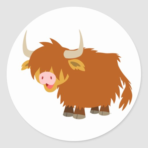 Cute Cartoon Highland Cow Sticker Zazzle