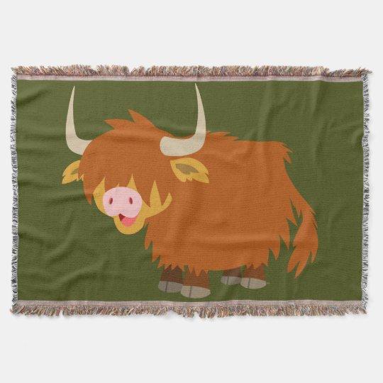 Cute Cartoon Highland Cow Throw Blanket