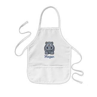 Cute cartoon hippo personalized with childs name kids apron