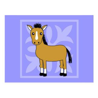 Cute Cartoon Horse Pretty Background Postcard