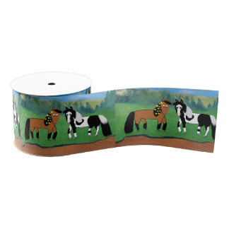 Cute Cartoon Horses Grosgrain Ribbon
