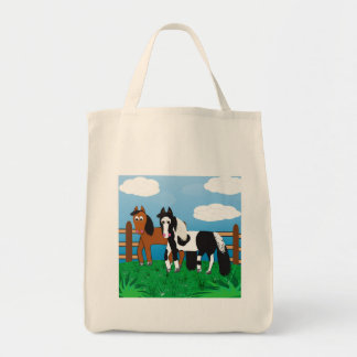 Cute Cartoon Horses Tote Bag