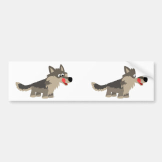 Cute Cartoon Hungry Wolf  Bumper Sticker