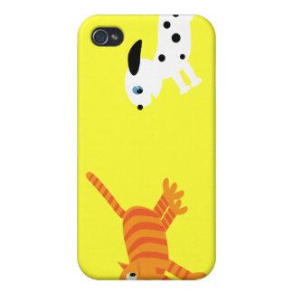 Cute Cartoon Illustration Dog Chasing Cat Yellow iPhone 4/4S Case