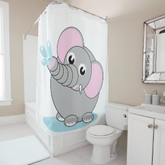Cute cartoon illustration of a baby gray elephant, shower curtain