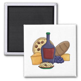Cute Cartoon Italian Food Pasta Bread Wine Cheese Fridge Magnet