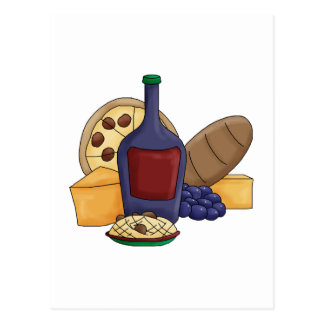 Cute Cartoon Italian Food Pasta Bread Wine Cheese Postcard