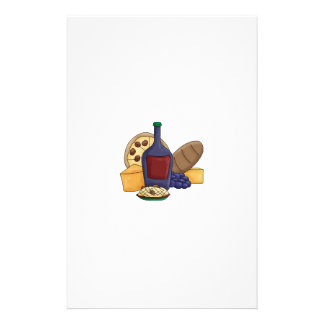 Cute Cartoon Italian Food Pasta Bread Wine Cheese Stationery