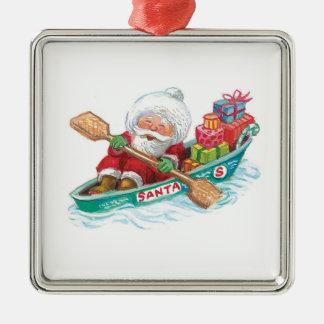 Cute Cartoon Jolly Santa Claus in a Row Boat Christmas Ornament
