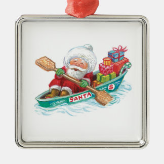Cute Cartoon Jolly Santa Claus in a Row Boat Silver-Colored Square Decoration