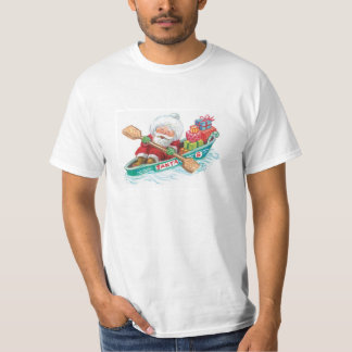 Cute Cartoon Jolly Santa Claus in a Row Boat T-Shirt