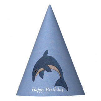 Cute Cartoon Jumping Birthday Blue White Dolphin Party Hat