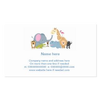 cute cartoon jungle safari animal set business cards