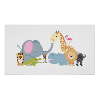 cute cartoon jungle safari animal set poster