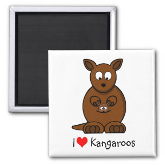 Cute Cartoon Kangaroo and Baby Joey Magnet