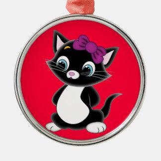 Cute Cartoon Kitten Christmas Ornament