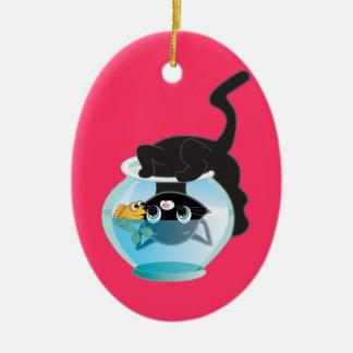 Cute Cartoon Kitten, Fish and bowl Christmas Ornament