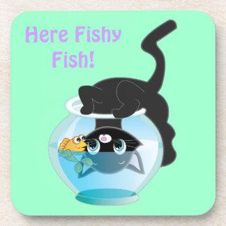 Cute Cartoon Kitten, Fish and bowl Coaster