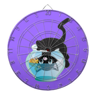 Cute Cartoon Kitten, Fish and bowl Dartboard