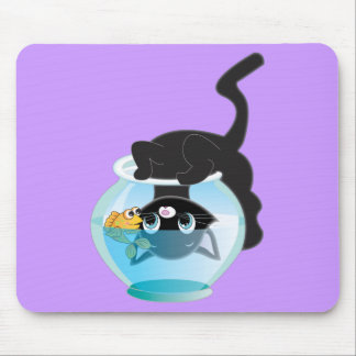 Cute Cartoon Kitten, Fish and bowl Mouse Pad