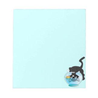 Cute Cartoon Kitten, Fish and bowl Notepads