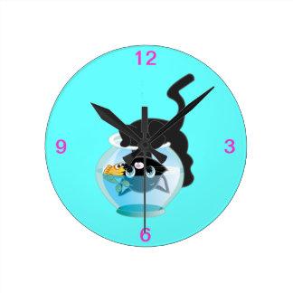 Cute Cartoon Kitten, Fish and bowl Round Clock