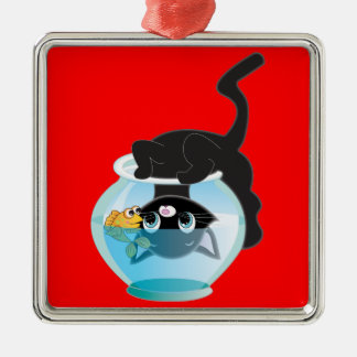 Cute Cartoon Kitten, Fish and bowl Silver-Colored Square Decoration