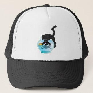 Cute Cartoon Kitten, Fish and bowl Trucker Hat