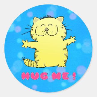 Cute Cartoon Kitten Round Sticker