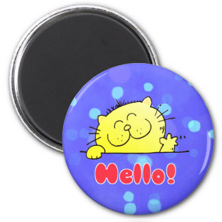 Cute Cartoon Kitty Hello 6 Cm Round Magnet
