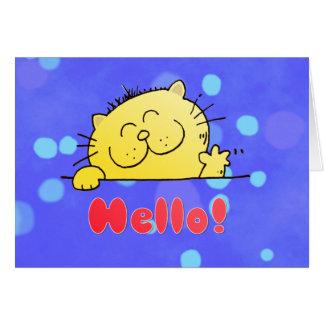 Cute Cartoon Kitty Hello Greeting Card